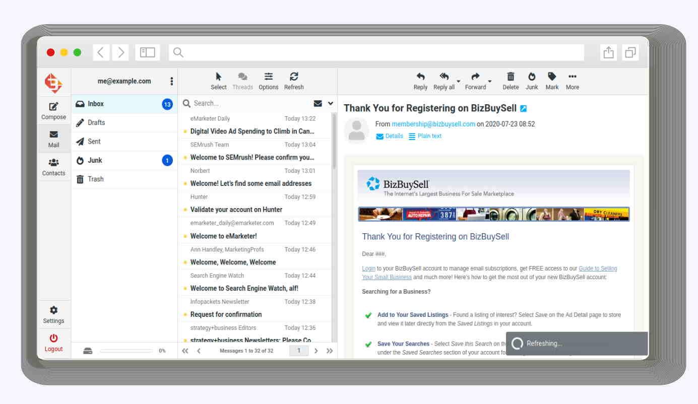 Webmail3 inbox window on desktop