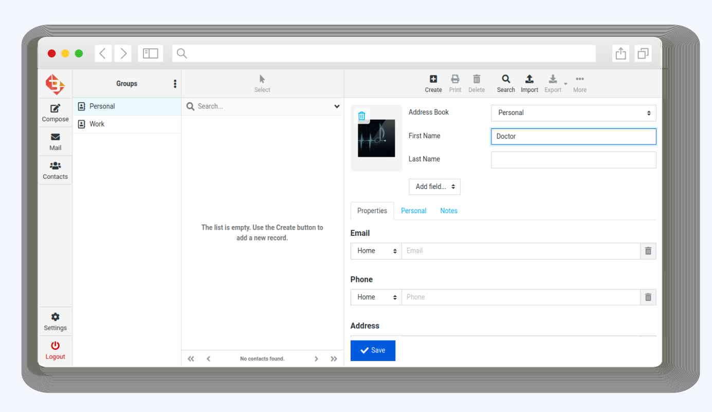 Webmail3 contacts window on desktop